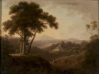 John Rathbone (British, 1750-1807)  Misty Landscape with Cottage and Distant Mountain