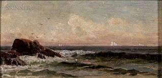Alfred Thompson Bricher (American, 1837-1908)  Rocky Shore with Distant Sailboats