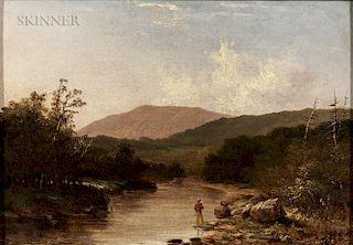 Walter Mason Oddie (American, 1808-1865)  Fishermen by a Mountain Stream