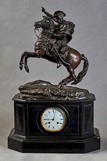 French Patinated Bronze and Black Marble Figural Mantle Clock, 19th c., by Samuel Marti, the top with a large bronze figure o
