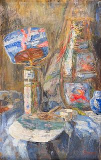 * James Ensor, (Belgian, 1860-1949), Chinoiseries - Chinese Vases and fans, c. 1908-10