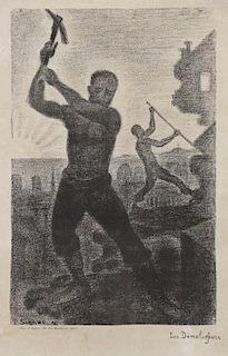 """SIGNAC, Paul. Lithograph. """"Les Demolisseurs"""" 1896."""