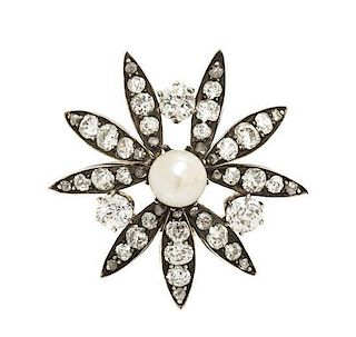 A Georgian Silver Topped Gold, Pearl and Diamond Brooch, 4.80 dwts.