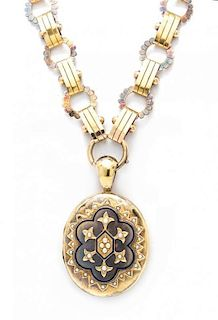 A Victorian Yellow Gold, Enamel and Split Pearl Locket and Necklace, 37.20 dwts.