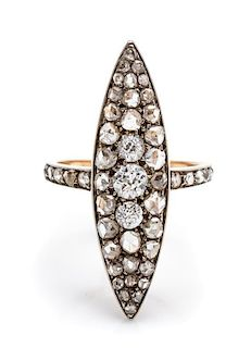 A Victorian Silver Topped Gold and Diamond Navette Ring, 3.20 dwts.