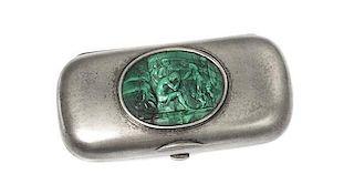 A Silver and Malachite Cigarette Case, 60.30 dwts.