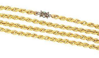 An Antique Yellow Gold Fancy Link Long Chain, 22.90 dwts.