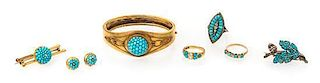 A Suite of Antique Turquoise and Diamond Jewelry,