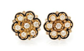 A Pair of Yellow Gold, Enamel and Diamond Earclips, 9.45 dwts.