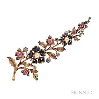 Antique Gold Gem-set Flower Brooch