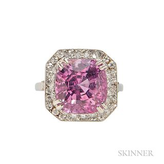 Platinum, Pink Sapphire, and Diamond Ring