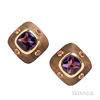 18kt Gold, Wood, Amethyst, and Pink Tourmaline Earclips, Van Cleef & Arpels
