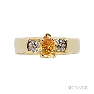 18kt Gold, Colored Diamond, and Diamond Ring, R.W. Wise