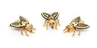 A Collection of Yellow Gold and Enamel Fly Motif Pins, 5.60 dwts.