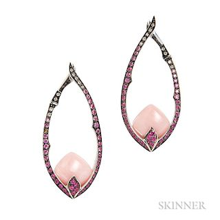 18kt White Gold, Coral, Pink Sapphire, and Diamond Earrings, Stephen Webster