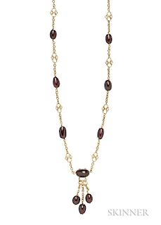 Arts and Crafts 18kt Gold and Garnet Bead Longchain