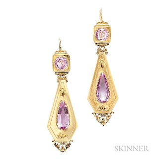 Antique 18kt Gold and Pink Topaz Day/Night Earrings