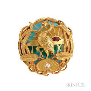 Art Nouveau 14kt Gold, Plique-a-jour Enamel, and Diamond Watch Pin, Riker Bros.