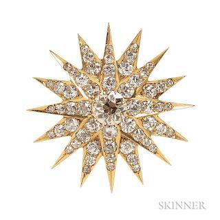 Antique Gold and Diamond Starburst Brooch