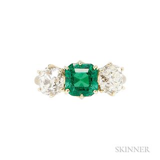 Antique 18kt Gold, Emerald, and Diamond Ring