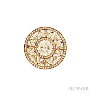 Antique 14kt Gold, Diamond, and Seed Pearl Pendant/Brooch, Krementz