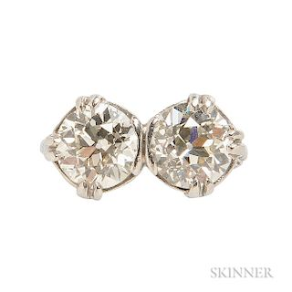 Art Deco Platinum and Diamond Twin-stone Ring