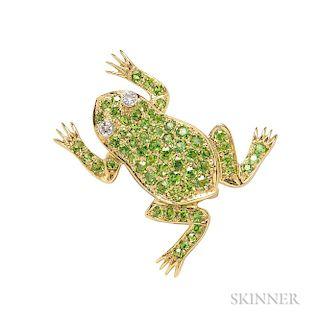 18kt Gold and Demantoid Garnet Frog Brooch