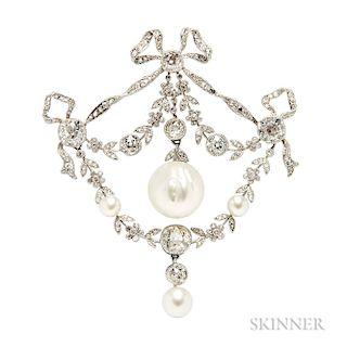 Edwardian Platinum, Natural Pearl, and Diamond Brooch