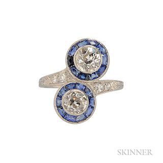 Art Deco Platinum and Diamond Bypass Ring