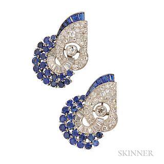 Art Deco Platinum, Sapphire, and Diamond Dress Clips