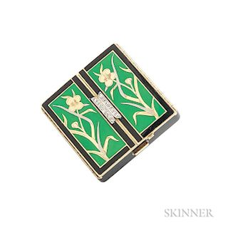 Art Deco 14kt Gold, Enamel, and Diamond Compact, Cartier