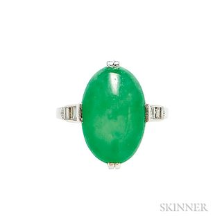 Art Deco Platinum, Jadeite Jade, and Diamond Ring, J.E. Caldwell