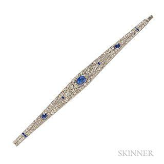 Art Deco Platinum, Sapphire, and Diamond Bracelet
