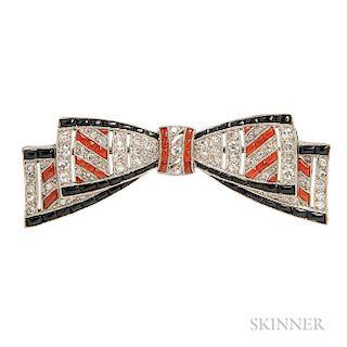 Art Deco Platinum, Coral, Onyx, and Diamond Bow Brooch