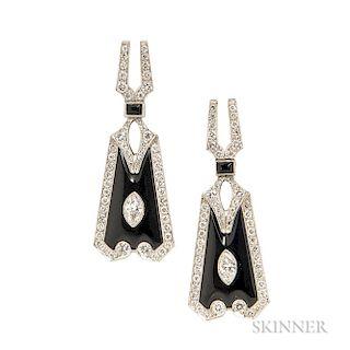 Art Deco Platinum, Onyx, and Diamond Pendant Drops