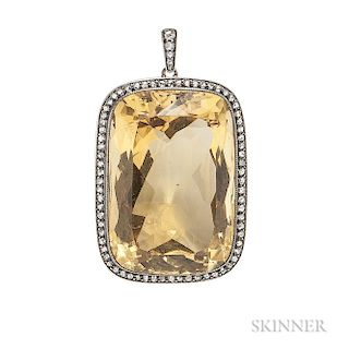 Citrine and Diamond Pendant