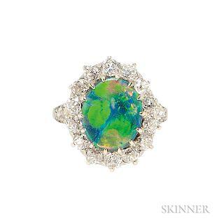 Platinum, Black Opal, and Diamond Ring,