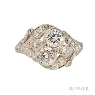 Platinum and Diamond Twin-stone Ring