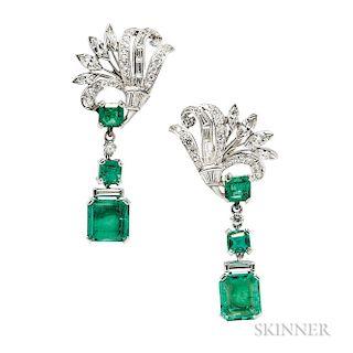 Platinum, Emerald, and Diamond Earrings