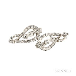 Pair of Platinum and Diamond Brooches, Cartier