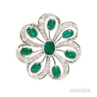Platinum, Emerald, and Diamond Pendant/Brooch