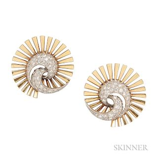 Retro 14kt Gold and Diamond Earclips