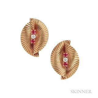 18kt Gold, Ruby, and Diamond Earclips, Cartier