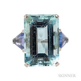 Platinum, Aquamarine, and Sapphire Ring, William Scheer