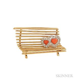 18kt Gold, Coral, and Diamond Brooch, Cartier
