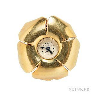 Retro 18kt Gold Lapel Watch, Cartier
