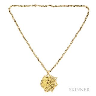 High-karat and 18kt Gold Pendant and Chain, Salvador Dali