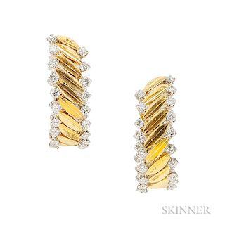 18kt Gold, Platinum, and Diamond Earclips, Van Cleef & Arpels