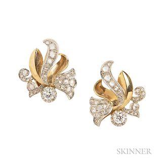 Retro Gold and Diamond Earrings