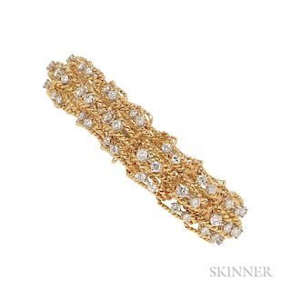 18kt Gold, Platinum, and Diamond Bracelet